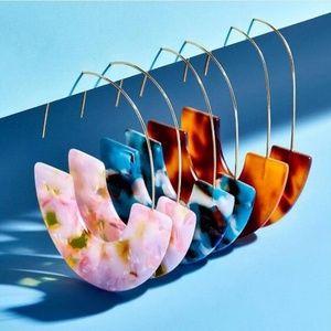 Jewelry - Boho Fashion Multicolored Resin Hoop Earrings